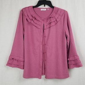 JOANNE RIVERS PINK RUFFLED CARDIGAN SIZE MEDIUM